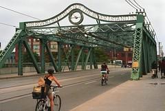 Queen Street Bridge (paulgumbinger) Tags: queen street bridge bicycling streetcar tracks green steel toronto ontario pentax k1000 fuji superia 400 35mm film clock