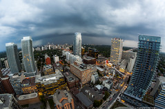 Condo Party (TdotShutterSpy) Tags: shutterspy condos fisheye toronto ontario canada rooftopping sunset storm clouds buildings intersection crown urbex urban exploring shutter spy