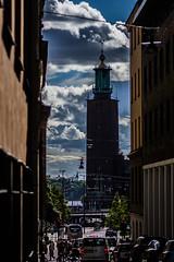 Stockholm (3 av 8) (joacim_771) Tags: city hall stockholm stadshuset cloud sunbeams traffic
