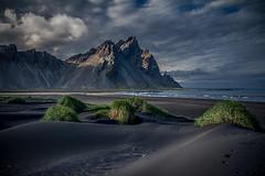 Mount Vestrahorn in Iceland (Dagur Jonsson) Tags: vestrahorn iceland mountain seashore sand black travel nature landscape sea ocean horizon clouds shore