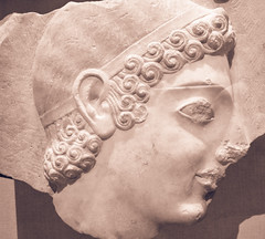 Head of a youth from marble stele (grave marker), Greece, 525 BC (Sharon Mollerus) Tags: 525bc greece greekart metropolitanmuseumofart newyorkcity xss