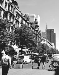 In The Streets Of Frankfurt/Main (ericgrhs) Tags: frankfurt frankfurtammain urban street skyscraper hochhäuser mainhatten hessen architecture streetscene streetphotography bw kaiserstrase