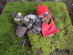 Tiniest jizo on moss (seikinsou) Tags: japan nikko spring kanmangafuchi abyss gorge daiyagawa river snow path jizo statue buddha red bib cap moss tiny shelter