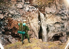 (Nikolay Kulivets) Tags: 35mm film olympusmjuii mjuii kodak georgia man rocks alpinism kazbek caucaus waterfall mountain
