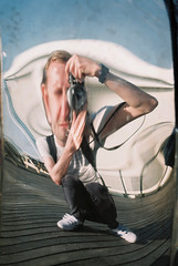 Self Portrait (tom_t.photography) Tags: southport southportpier selfportrait pentaxme agfaphoto200vistaplus reflection distortion 35mmfilm