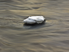 Block of ice in the river (Tobbe_N) Tags: longexposure winter snow ice nature water river sweden olympus simplicity softwater smoothwater silkywater milkywater olympusxz1