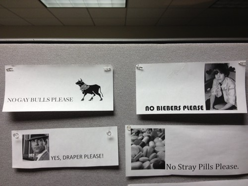 No Gay Bulls Please (picture of bull in high heels with a boa) Yes, Draper Please! (Don Draper) No Biebers Please (Justin) No Stray Pills Please (Pills)