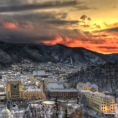 """Sunset (George Nutulescu) Tags: city winter sunset sky panorama clouds day cityscape cloudy romania fortress brasov cloudly superaplus flickraward flickrestrellas spiritofphotography paololivornosfriends outstandingromanianphotographers """"flickrtravelaward"""""""