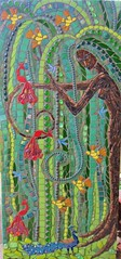 The Contented Willow - Tree Goddess Mosaic (Waschbear - Frances Green) Tags: tree bird glass birds nude mosaic mixedmedia peacock swirls mothernature twirls glassmosaic treegoddess piecemakers treewoman mosaictree birdgoddess nudemosaic birdtreewoman