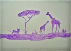 "Decoration - ""Africa"" - chalk (farfalla1308) Tags: africa animals painting tiere pastel afrika animali kreide dipinto gemälde"