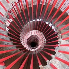 Spirals (10b travelling) Tags: red wheel stairs circle spiral europa europe stair geometry slovenia staircase round ljubljana slovenija balkans yugoslavia 2012 laibach lubiana