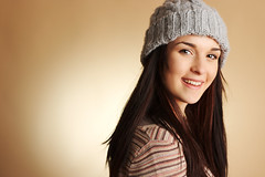 Bina's Smile (gestiefeltekatze) Tags: portrait girl beauty hat studio model natural young cap circuz
