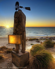 Heading out to sea.... (PhotoArt Images) Tags: ocean sunset sculpture beach sunrise photoart hdr sculpturesbythesea windman nikond700 nikon2470mm28 photoartimages brightonbeachadelaide corythomassculpturewindman corythomassculpture