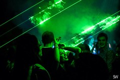 (_undisclosed__) Tags: lighting light party portrait music woman green london girl smile lines smiling club happy haze lowlight natural candid smoke cable nightclub electronicmusic ambient nightlife lazers smokemachine