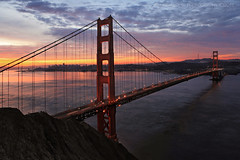 Morning Paradise  **EXPLORE** (Andrew Louie Photography) Tags: life camera morning bridge friends sun coffee colors fog canon happy golden early spring gate san francisco paradise cityscape baker weekend no photographers jazz burn rise anita