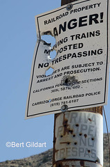 Carrizo Gorge Railroad No Tresspass Sign