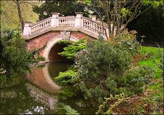 The bridge (angelsgermain) Tags: park bridge trees plants paris france brick water pool stone garden spring parcmonceau kunstplatzlinternational