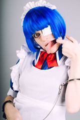 IMG_3701 (teladi) Tags: portrait anime girl canon cosplay 7d bluehair handcuffs eyepatch 24105 ikkitousen ryomoushimei 一騎当千 russiancosplay