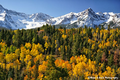 San Juans Autumn Glory (Aspenbreeze) Tags: mountains fall rural colorado country seasonal aspens mountainside sanjuanmountains mountainpeaks quakingaspens goldenaspens aspenbreeze moonandbackphotography gpsetest bevzuerlein
