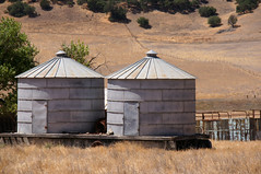 Rooms For Rent, Reasonable Rates (nedlugr) Tags: california ca trees usa fence dry hills bins grainbins hwy25 drygrass highway25 theroadlesstraveled airlinehighway ruralwest