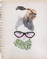 illustration friday: eye glasses (pretty little thieves) Tags: old girls eye art girl collage illustration paper glasses mixed media with friday