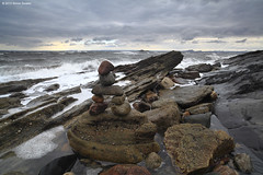 Someone was here (SwaloPhoto) Tags: beach coast scotland rocks waves fife stones stormy coastal northsea foam inukshuk firthofforth kirkcaldy bythesea seafield someonewashere leefilters canoneos5dmkii