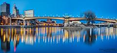 Wabasha Bridge at Dusk (Greg Lundgren Photography) Tags: bridge panorama reflection minnesota skyline night river stpaul mississippiriver twincities wabashabridge