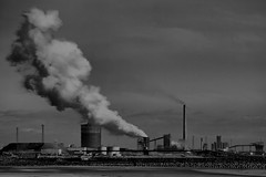 Industry from the Beach (Tyrone Williams) Tags: blackandwhite beach water monochrome composite canon mono image doubleexposure multipleexposure 7d cropped hdr magiclantern 70200mm multipleexposures aberavon 70200l bracketed canon70200lf4 aberavonbeach canon70200f4usm multiimagecomposite canon7d canon70200lf4usm 7dcanon canonblackwhite canonef70200lf4nonis