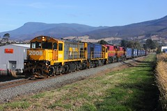 Trains In Tasmania - 2008 Passing the Sale Yards near Rogerville (Trains In Tasmania) Tags: train gm brighton australia tasmania 2008 dq bridgewater freighttrain mountwellington papertrain emd goodstrain tasrail rogerville dqclass canoneos550d bridgewaterjunction trainsintasmania stevebromley