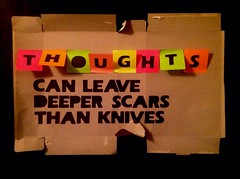 Thoughts can leave deeper scars than knives (alshepmcr) Tags: leave sex self pain hurt blood cut thinker suicide knife deep social personality thoughts crime thinking knives disorder mad distress society harm cuts angst scars borderline psychiatric mental deeper psychological deliberate deepest brused