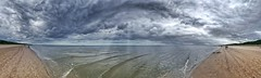 Wide beach of Usedom (Michael Schnborn) Tags: s6 samsung panorama panoramic naturescene beach usedom sky dramatic clouds lightrays