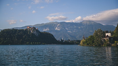Lake Bled (xDiscobobx) Tags: castle slovenia flag church nature water green landscape blye bled lakebled