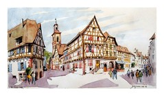 Riquewihr - Alsace - France (guymoll) Tags: googleearth alsace france riquewihr village colombages croquis sketch aquarelle watercolour watercolor