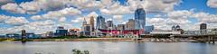 Stadium City (Greg Lundgren Photography) Tags: cincinnati ohio ohioriver panorama riverfront urban cityscape paulbrownstadium greatamericanballpark usbankarena bridge skyline