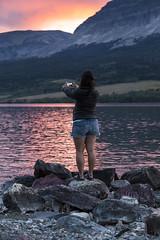 Visitor Taking Photo of the Sunset (GlacierNPS) Tags: glaciernationalpark montana nps nationalparks lake mountains stmarylake selfie nature outdoors instagram instameet