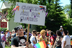 Closets are for Clothes (Vegan Butterfly) Tags: lgbt pride parade edmonton alberta gay lesbian transgender bisexual trans homophobia heterosexism transphobia cissexism biphobia sexual orientation gender identity human rights activism world event people outside outdoors social justice oppression discrimination injustice atheist atheism pastafarian pastafarianism flying spaghetti monster religion antireligion christian christianity pirate pirates colours colors colourful colorful queer pansexual asexual questioning candid