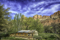 DSC_6846-Edit-2-Edit-EditFAA (john.cote58) Tags: springdale utah mountains shanty shack architecture cabin sky clouds rock stone geography growth erosion iron outdoors outside statepark art design landscape antique old formations zionstatepark zion nationalpark trees cedar spring color contrast scenic