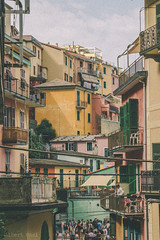 Levels  (albertpaci) Tags: city old town manarola italy vintage retro buildings architecture balcony sky outdoor day people history cinqueterre italia houses hill view colors travel tourists world liguria village