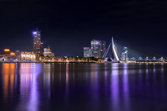 Erasmusbrug (the_wonderer_wanderer) Tags: city rotterdam night lights citylights nightscape nightshot longexposure thenetherlands meuse maas river dutch reflection bridge architecture noordereiland erasmusbrug
