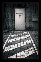 Exit Strategy (toletoletole (www.levold.de/photosphere)) Tags: luxemburg luxembourg belval esch eschsuralzette bw sw door tre exit notausgang emergency stripes streifen