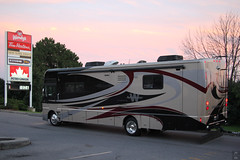 Motorhome and dinner at Wendy's (Canadian Pacific) Tags: ontario canada canadian whitby aimg5203 home motorhome rv recreational vehicle dusk sunset