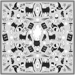 fire burn and cauldron bubble (janeherkenhoff) Tags: headscarf pattern design witch witchcraft bruja illustration black cat spell book cauldron