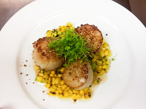 Coconut Seared Scallops - Roasted Corn - Chives - Coconut Oil - Dry Miso - Micro Celery