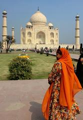 Lady at the Taj Mahal (cowyeow) Tags: travel portrait orange india color lady women indian taj mahal tajmahal agra mausoleum thetaj uttarpradesh