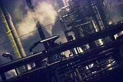 Stickney sewage plant (Digital Black Book) Tags: dark scary industrial smoke pipes tubes foggy evil creepy corporation sewage pollution scifi environment sewageplant stickney shitfactory syfy