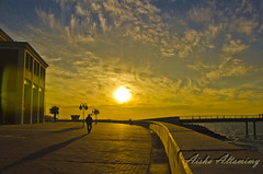 An End of Another Day (Aisha Altamimy) Tags: bridge shadow sun man beach clouds duct kuwait seaguls