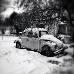 Snow Covered VW Beetle, Ellensburg, Washington (Dec 2012) (Steve G. Bisig) Tags: auto blackandwhite snow 6x6 monochrome car vw volkswagen washington automobile vehicle volkswagon ellensburg snapseed uploaded:by=flickrmobile flickriosapp:filter=nofilter