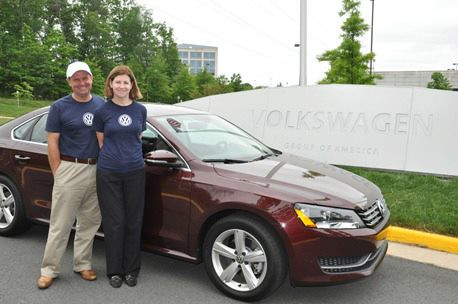 John and Helen Taylor in front of the 2012 Volkswagen Passat TDI Clean Diesel