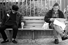 although did not know each other, but both has the common experience (Vincent Garden) Tags: road old people bw hk holiday men eye photoshop 35mm canon garden landscape hongkong chair nikon sony poor cloth e1 nx brovo blackwhitephotos admas photoshopcs3