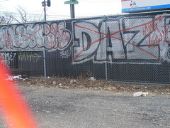 bleach? and daz dissed (TheRapLetterTechnician) Tags: philadelphia out graffiti beef tag south graf bleach philly bomb tagging bombing spd crossed daz diss hedake hedak